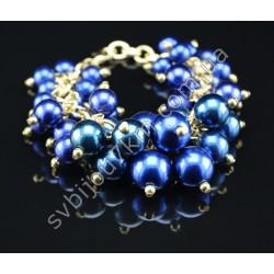 Браслет с бусинами в стиле Chanel синий