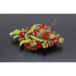 Брошь Букет с красными камнями