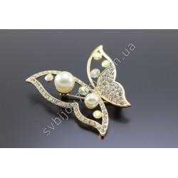 Брошь женская Бабочка с жемчугом