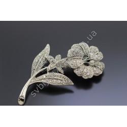 Брошь женская Цветок серебристый