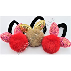 Резинка для волос Меховый шарик с блестящими ушками